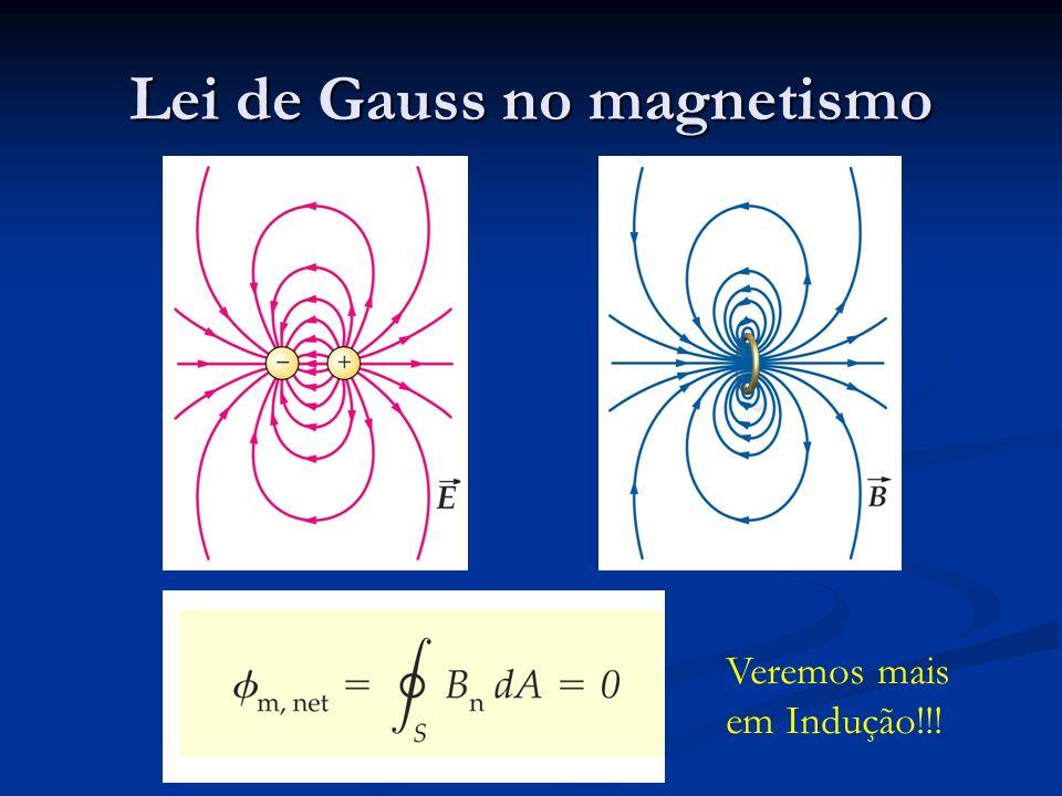 Lei de Gauss no magnetismo Veremos mais em Indução!!!