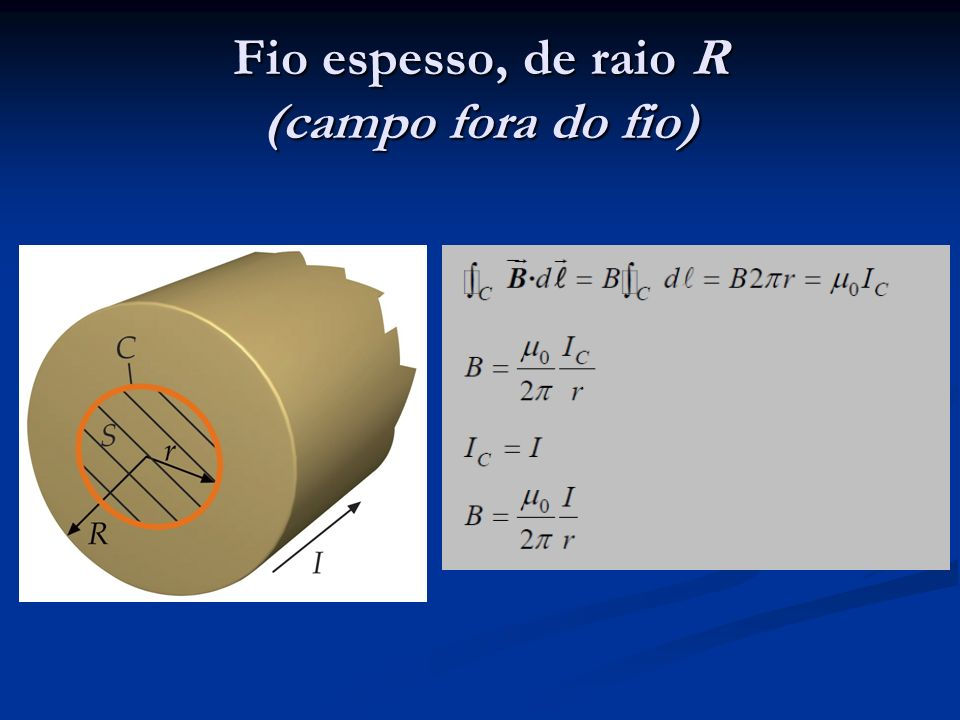 Fio espesso, de raio R (campo dentro do fio)