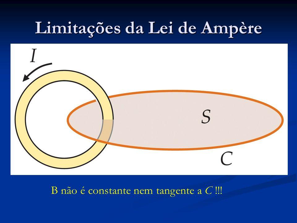 Limitações da Lei de Ampère B não é constante nem tangente a C !!!