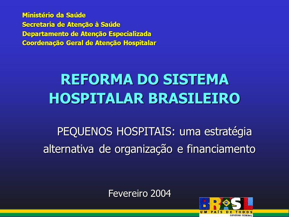 REFORMA DO SISTEMA HOSPITALAR BRASILEIRO Ministério da Saúde Secretaria de Atenção à Saúde Departamento de Atenção Especializada Coordenação Geral de
