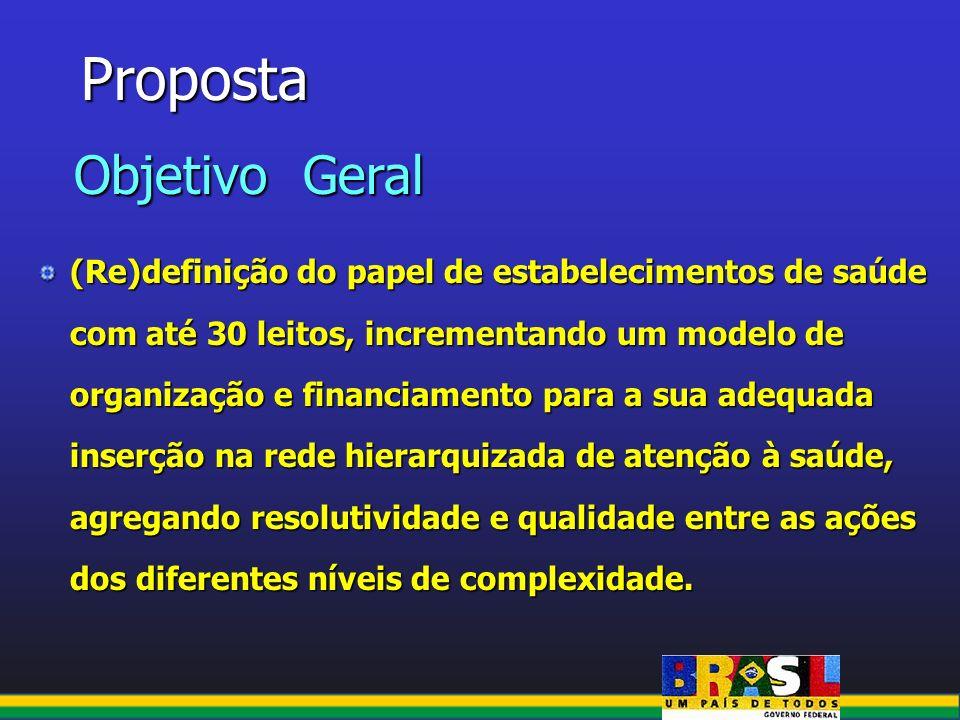 Proposta (Re)definição do papel de estabelecimentos de saúde com até 30 leitos, incrementando um modelo de organização e financiamento para a sua adeq
