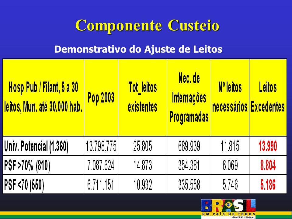 Componente Custeio Demonstrativo do Ajuste de Leitos
