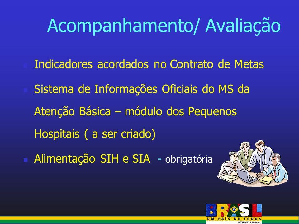 Acompanhamento/ Avaliação Indicadores acordados no Contrato de Metas Sistema de Informações Oficiais do MS da Atenção Básica – módulo dos Pequenos Hos