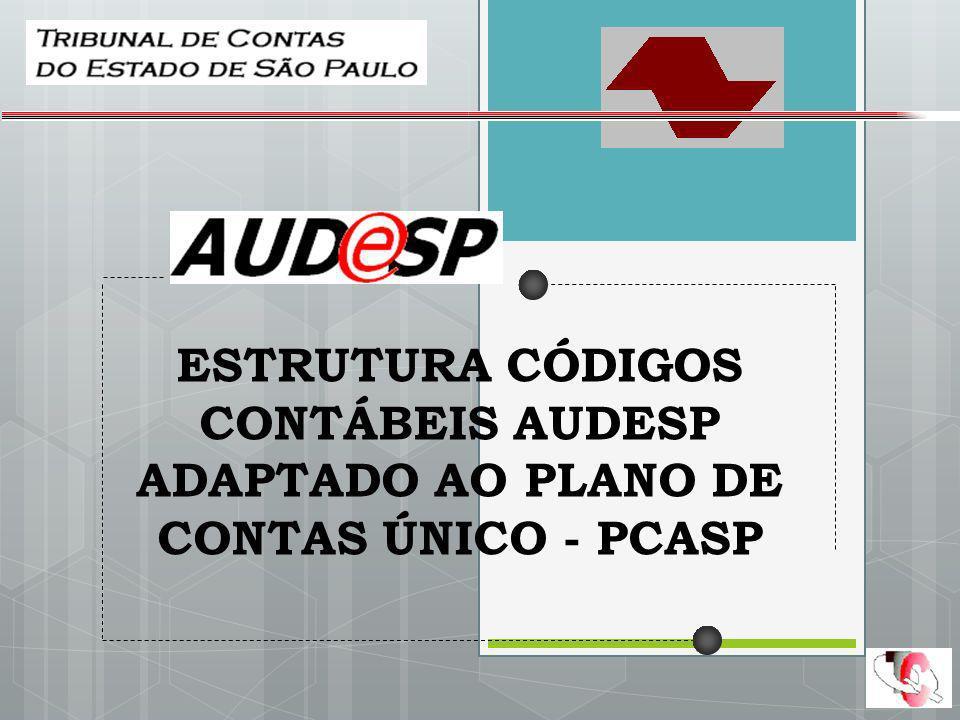 ESTRUTURA CÓDIGOS CONTÁBEIS AUDESP ADAPTADO AO PLANO DE CONTAS ÚNICO - PCASP