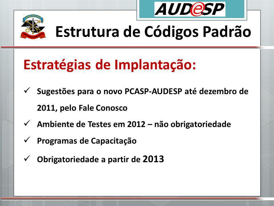 Estratégias de Implantação: Estrutura de Códigos Padrão Sugestões para o novo PCASP-AUDESP até dezembro de 2011, pelo Fale Conosco Ambiente de Testes