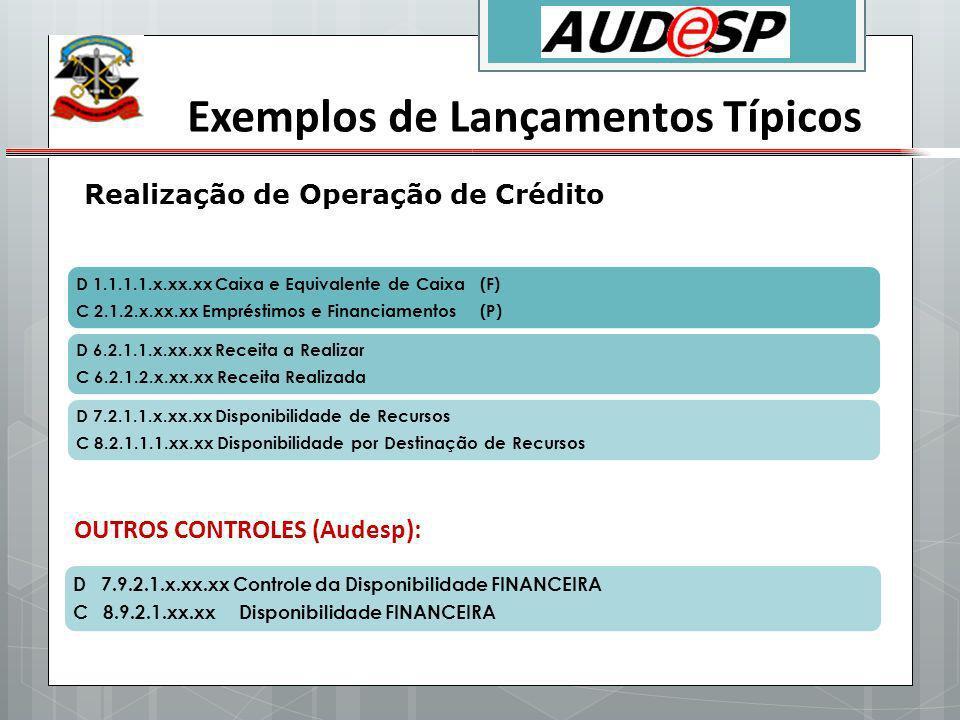 Exemplos de Lançamentos Típicos D 1.1.1.1.x.xx.xx Caixa e Equivalente de Caixa (F) C 2.1.2.x.xx.xx Empréstimos e Financiamentos (P) D 6.2.1.1.x.xx.xx