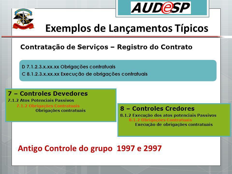 Exemplos de Lançamentos Típicos Contratação de Serviços – Registro do Contrato D 7.1.2.3.x.xx.xx Obrigações contratuais C 8.1.2.3.x.xx.xx Execução de