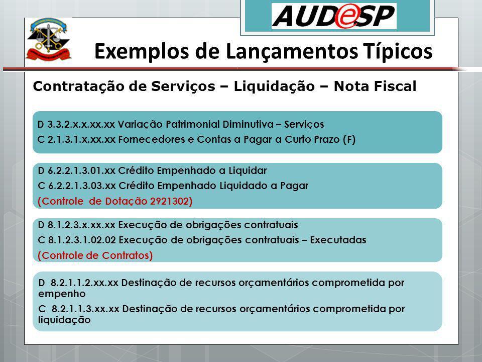 Exemplos de Lançamentos Típicos Contratação de Serviços – Liquidação – Nota Fiscal D 3.3.2.x.x.xx.xx Variação Patrimonial Diminutiva – Serviços C 2.1.