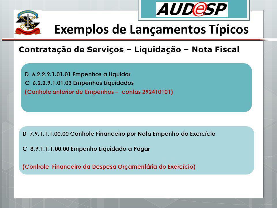 Exemplos de Lançamentos Típicos Contratação de Serviços – Liquidação – Nota Fiscal D 6.2.2.9.1.01.01 Empenhos a Liquidar C 6.2.2.9.1.01.03 Empenhos Li