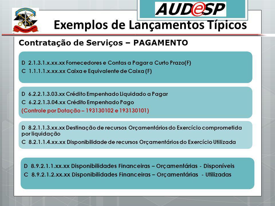 Exemplos de Lançamentos Típicos Contratação de Serviços – PAGAMENTO D 2.1.3.1.x.xx.xx Fornecedores e Contas a Pagar a Curto Prazo(F) C 1.1.1.1.x.xx.xx