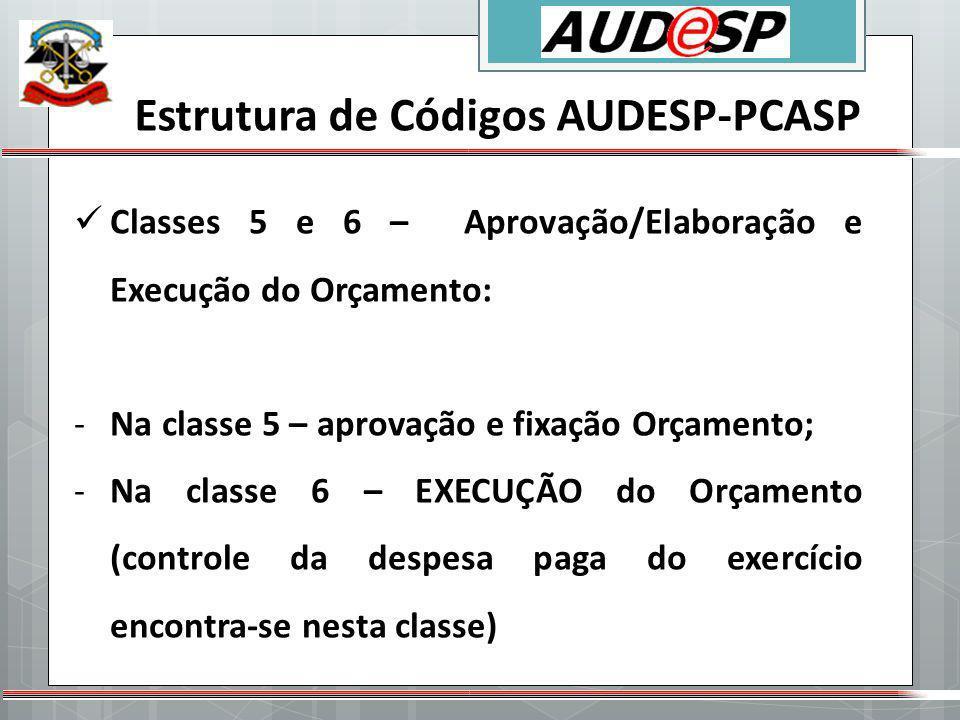 Estrutura de Códigos AUDESP-PCASP Classes 5 e 6 – Aprovação/Elaboração e Execução do Orçamento: -Na classe 5 – aprovação e fixação Orçamento; -Na clas