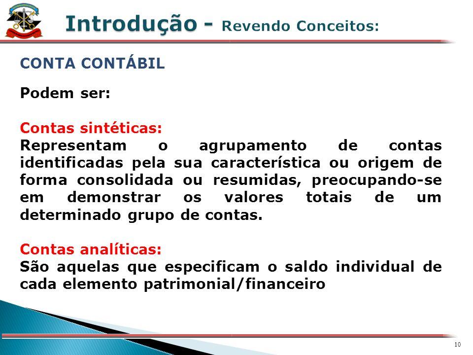 9 X CONTA CONTÁBIL Conta é a expressão qualitativa e quantitativa de fatos patrimoniais de mesma natureza, evidenciando a composição, variação e estad