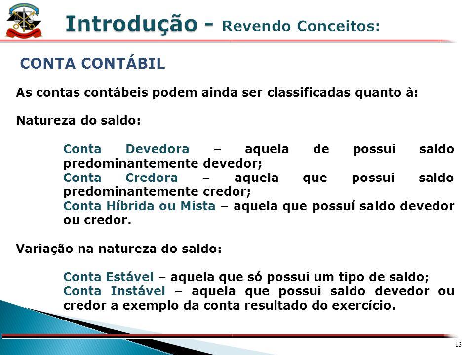 12 X CONTA CONTÁBIL As contas contábeis são classificadas em: Patrimoniais: representadas pelas contas que integram o Ativo, Passivo e Patrimônio Líqu
