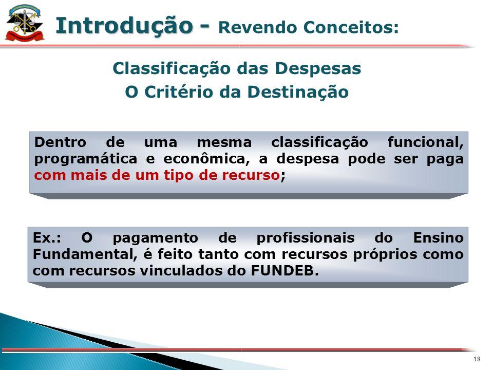 17 X Classificação das Receitas O Critério da Destinação Introdução - Introdução - Revendo Conceitos: A Classificação Econômica da Receita somente em