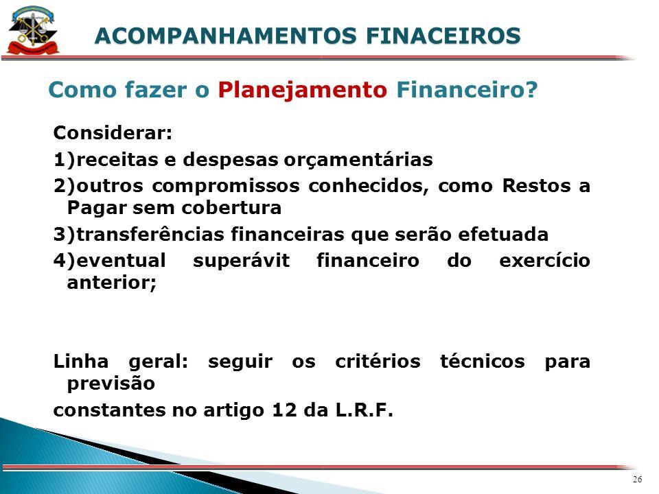 25 X ACOMPANHAMENTOS FINACEIROS Fundamentação Legal Artigo 8º da L.R.F. -Até trinta dias após a publicação dos orçamentos...o Poder Executivo estabele