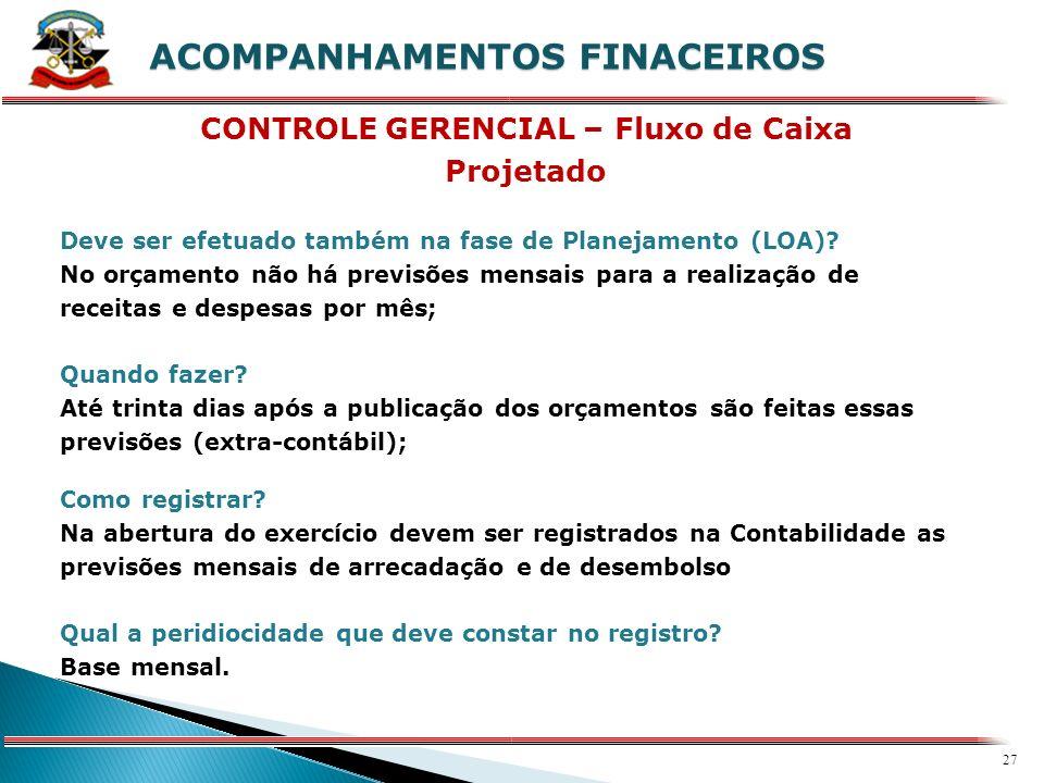 26 X ACOMPANHAMENTOS FINACEIROS Como fazer o Planejamento Financeiro? Considerar: 1)receitas e despesas orçamentárias 2)outros compromissos conhecidos