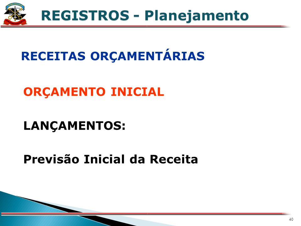 39 X REGISTROS 1º Passo Cadastros com Informações Básicas do Fato Contábil: Órgão, Unidade Orçamentária, Unidade de Despesa Código de Aplicação Domicí