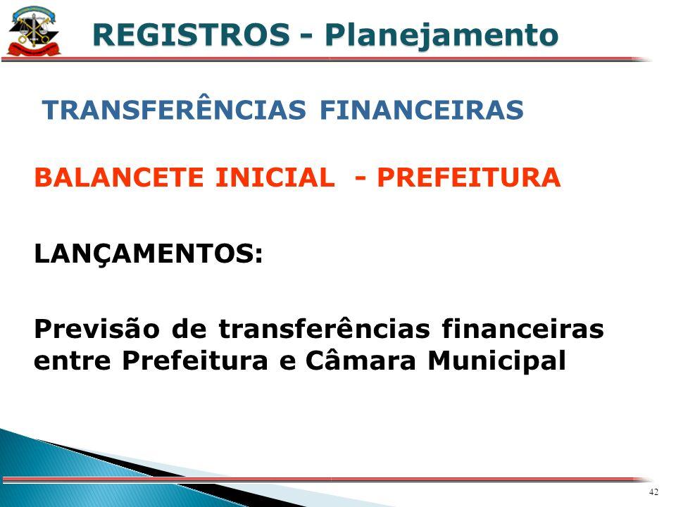41 X REGISTROS - Planejamento Receita IPTU – 78.200.00,00 Receita FPM – 82.100.000,00