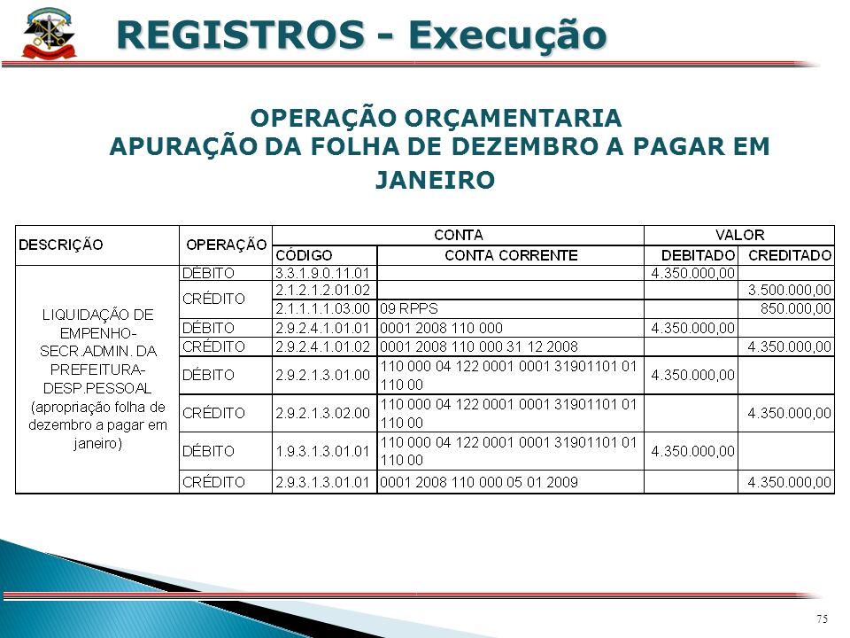 74 X REGISTROS - Execução OPERAÇÕES EXTRAORÇAMETÁRIAS RECONHECIMENTO PELA CONTABILIDADE DE PRECATÓRIOS PRESTAÇÃO DE CONTAS DE CONVÊNIOS RECEBIDOS