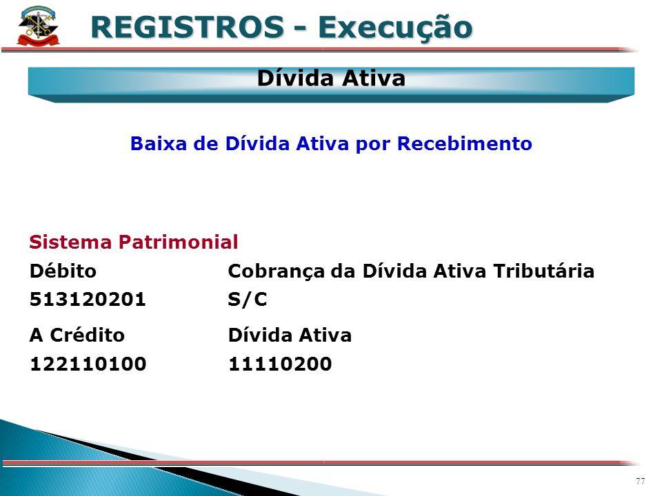 76 X REGISTROS - Execução Dívida Ativa Sistema Patrimonial DébitoDívida Ativa 12211010011110200 A CréditoDívida Ativa - Inscrição 623171001S/C Inscriç