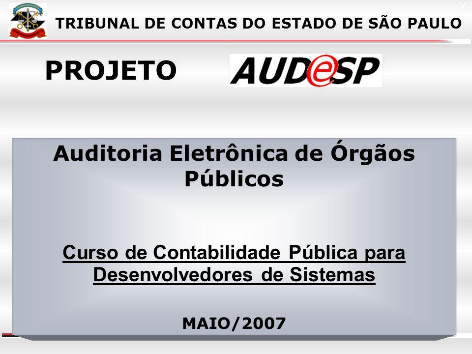 X TRIBUNAL DE CONTAS DO ESTADO DE SÃO PAULO PROJETO Auditoria Eletrônica de Órgãos Públicos Curso de Contabilidade Pública para Desenvolvedores de Sis