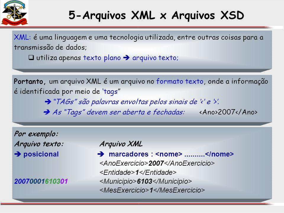 5-Arquivos XML x Arquivos XSD Por exemplo: Arquivo texto:Arquivo XML posicional marcadores :.......... 2007 1 20070001610301 6103 1 XML: é uma linguag