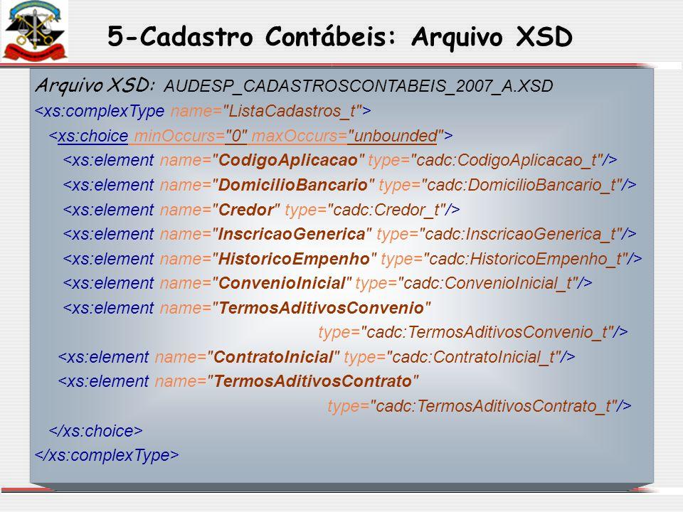 5-Cadastro Contábeis: Arquivo XSD Arquivo XSD: AUDESP_CADASTROSCONTABEIS_2007_A.XSD <xs:element name=