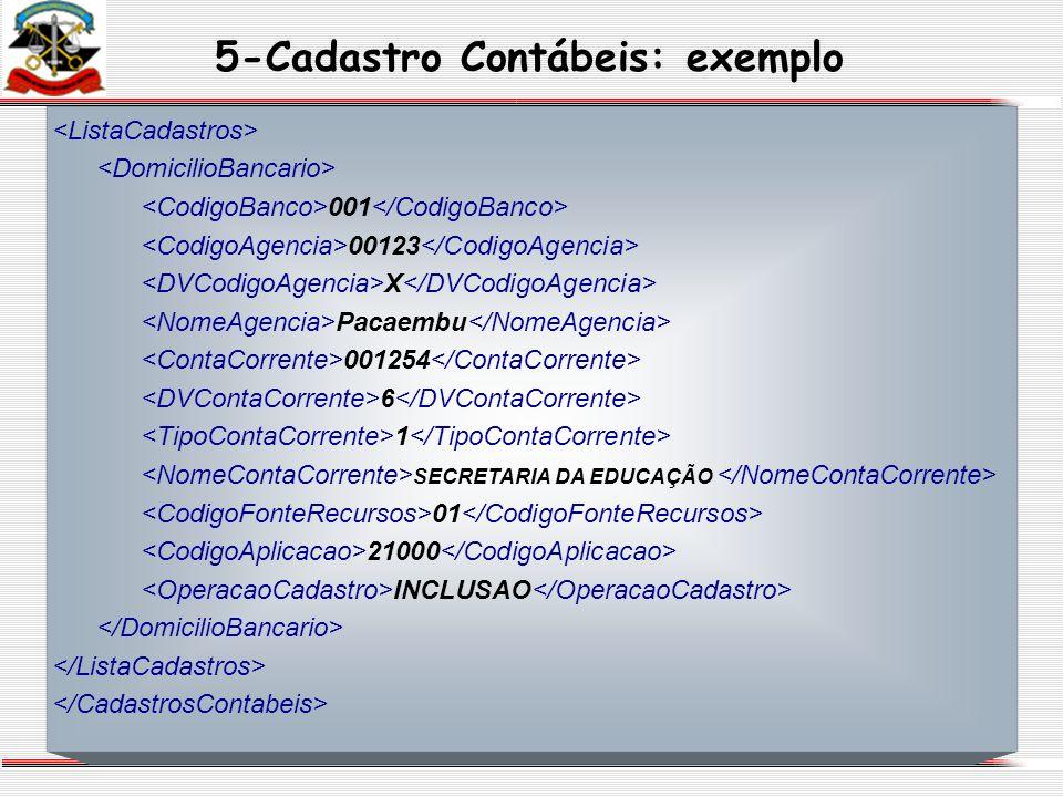 5-Cadastro Contábeis: exemplo 001 00123 X Pacaembu 001254 6 1 SECRETARIA DA EDUCAÇÃO 01 21000 INCLUSAO