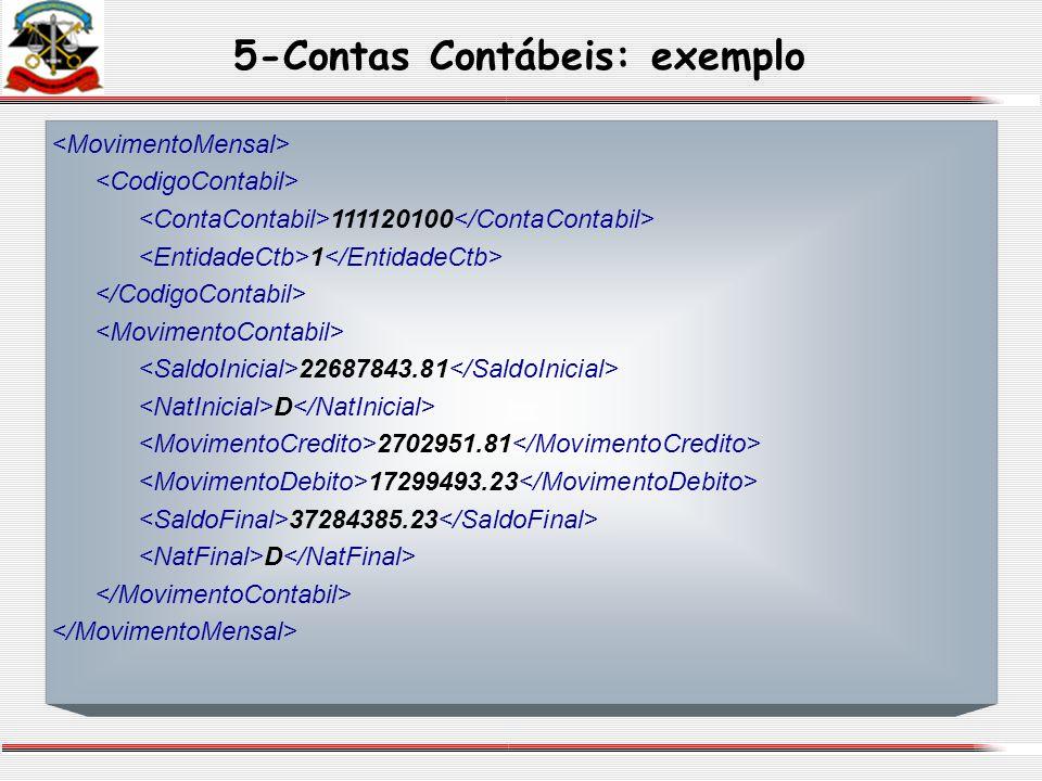 5-Contas Contábeis: exemplo 111120100 1 22687843.81 D 2702951.81 17299493.23 37284385.23 D