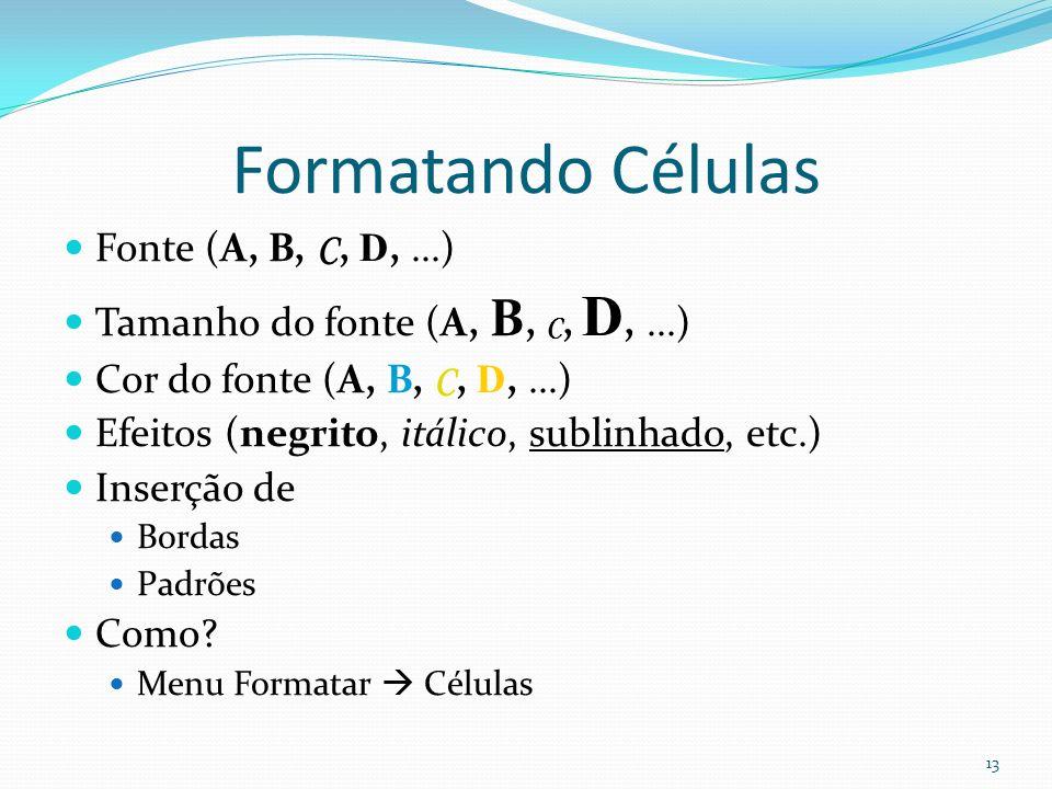 Formatando Células Fonte (A, B, C, D,...) Tamanho do fonte (A, B, C, D,...) Cor do fonte (A, B, C, D,...) Efeitos (negrito, itálico, sublinhado, etc.) Inserção de Bordas Padrões Como.