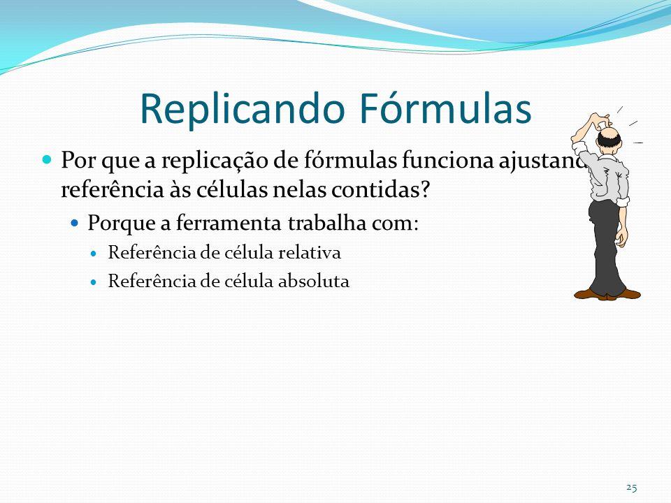 Replicando Fórmulas Por que a replicação de fórmulas funciona ajustando a referência às células nelas contidas.