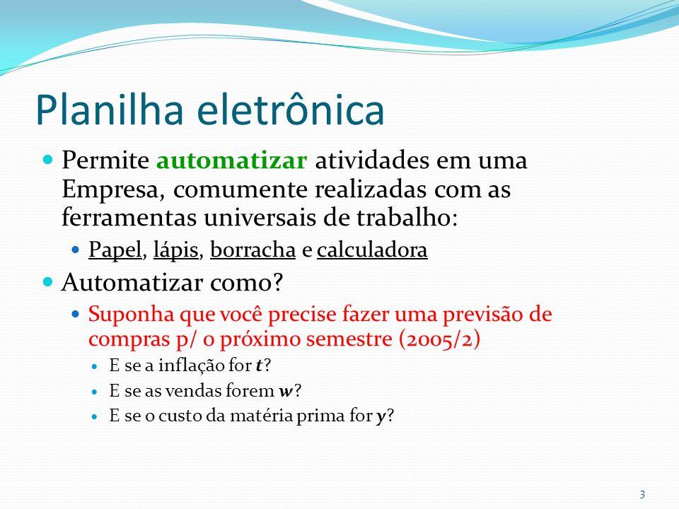 Planilha eletrônica Permite automatizar atividades em uma Empresa, comumente realizadas com as ferramentas universais de trabalho: Papel, lápis, borracha e calculadora Automatizar como.