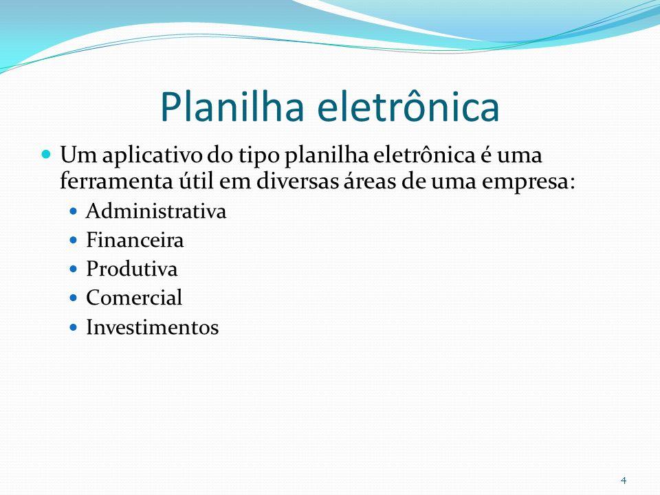 Planilha eletrônica Um aplicativo do tipo planilha eletrônica é uma ferramenta útil em diversas áreas de uma empresa: Administrativa Financeira Produtiva Comercial Investimentos 4