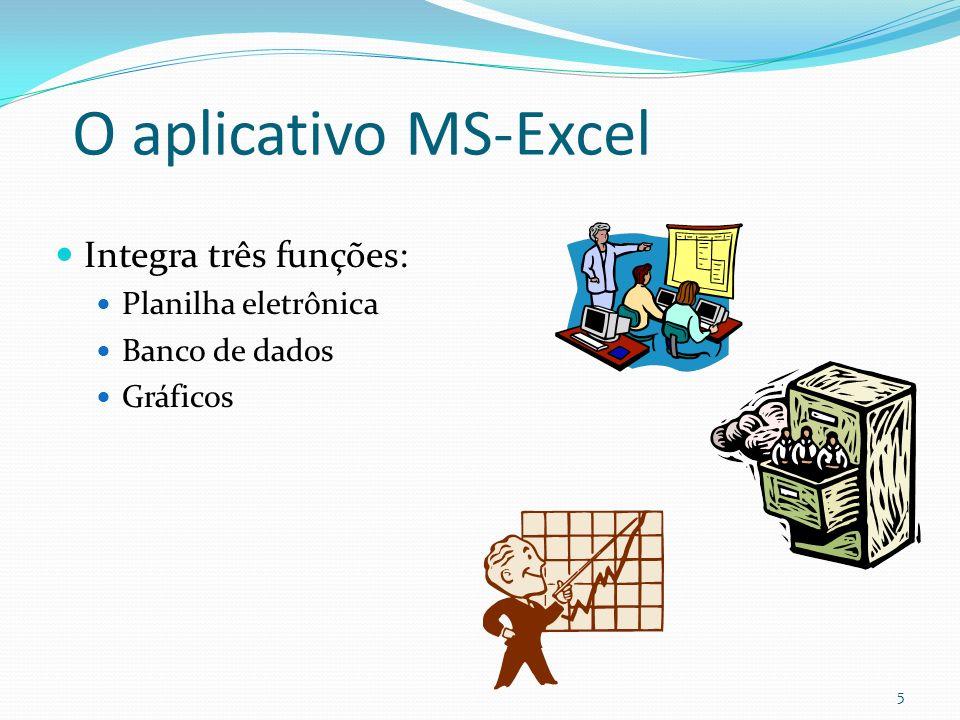 O aplicativo MS-Excel Integra três funções: Planilha eletrônica Banco de dados Gráficos 5