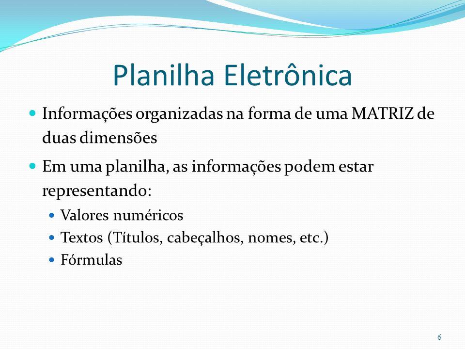 Planilha Eletrônica Informações organizadas na forma de uma MATRIZ de duas dimensões Em uma planilha, as informações podem estar representando: Valores numéricos Textos (Títulos, cabeçalhos, nomes, etc.) Fórmulas 6