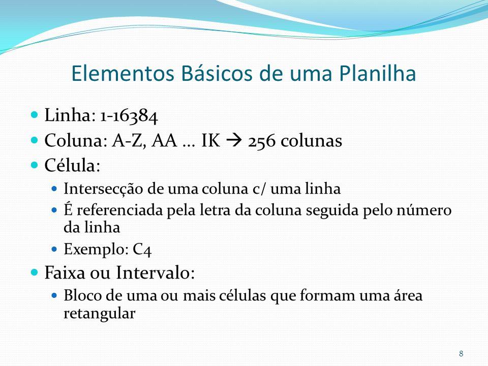Elementos Básicos de uma Planilha Linha: 1-16384 Coluna: A-Z, AA...