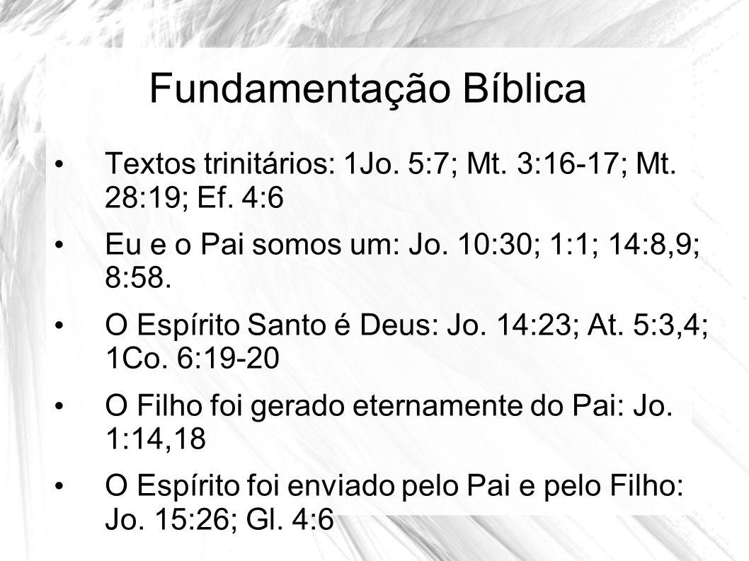 Fundamentação Bíblica Textos trinitários: 1Jo. 5:7; Mt. 3:16-17; Mt. 28:19; Ef. 4:6 Eu e o Pai somos um: Jo. 10:30; 1:1; 14:8,9; 8:58. O Espírito Sant