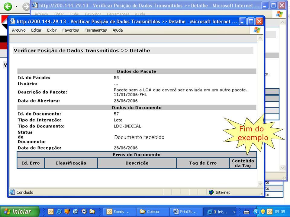 47 Coletor Fonte: Análise da equipe Fim do exemplo Documento recebido