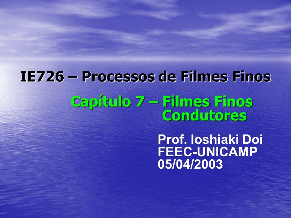 IE726 – Processos de Filmes Finos Capítulo 7 – Filmes Finos Condutores Prof. Ioshiaki Doi FEEC-UNICAMP 05/04/2003
