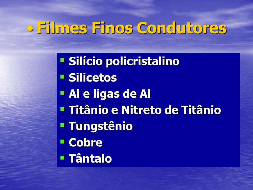 Filmes Finos CondutoresFilmes Finos Condutores Silício policristalino Silício policristalino Silicetos Silicetos Al e ligas de Al Al e ligas de Al Tit