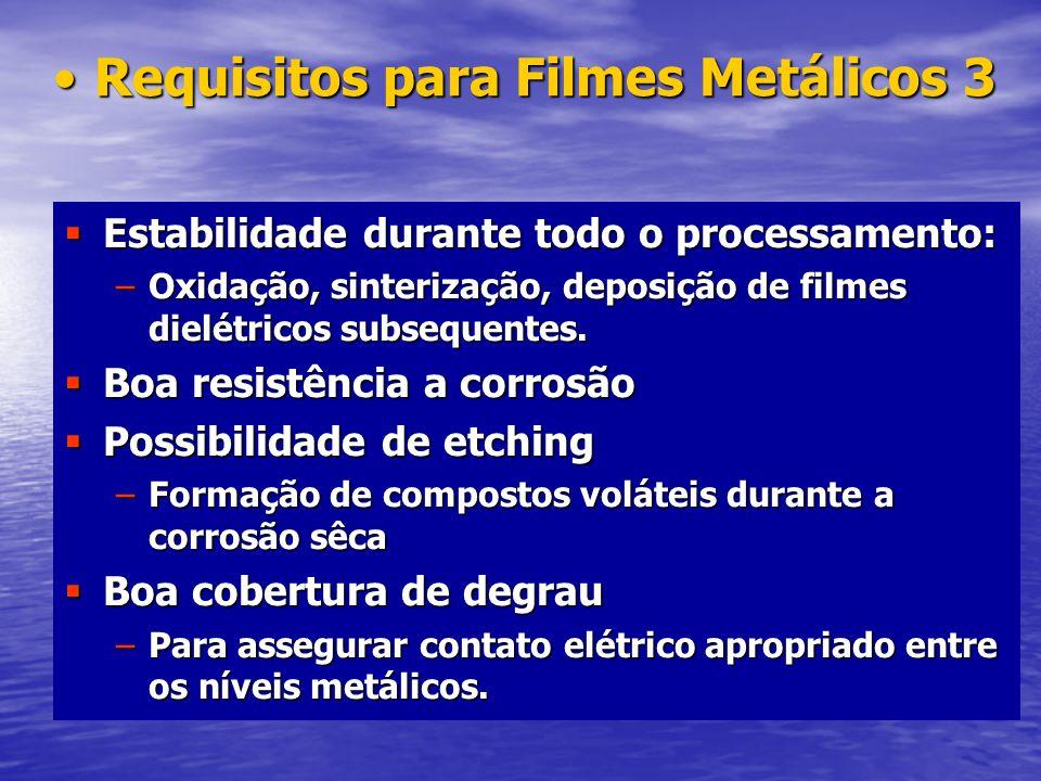 Requisitos para Filmes Metálicos 3Requisitos para Filmes Metálicos 3 Estabilidade durante todo o processamento: Estabilidade durante todo o processame