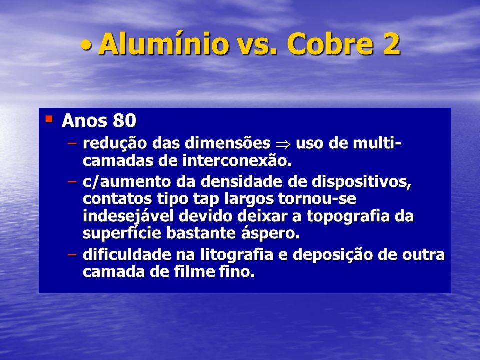 Alumínio vs. Cobre 2Alumínio vs. Cobre 2 Anos 80 Anos 80 –redução das dimensões uso de multi- camadas de interconexão. –c/aumento da densidade de disp