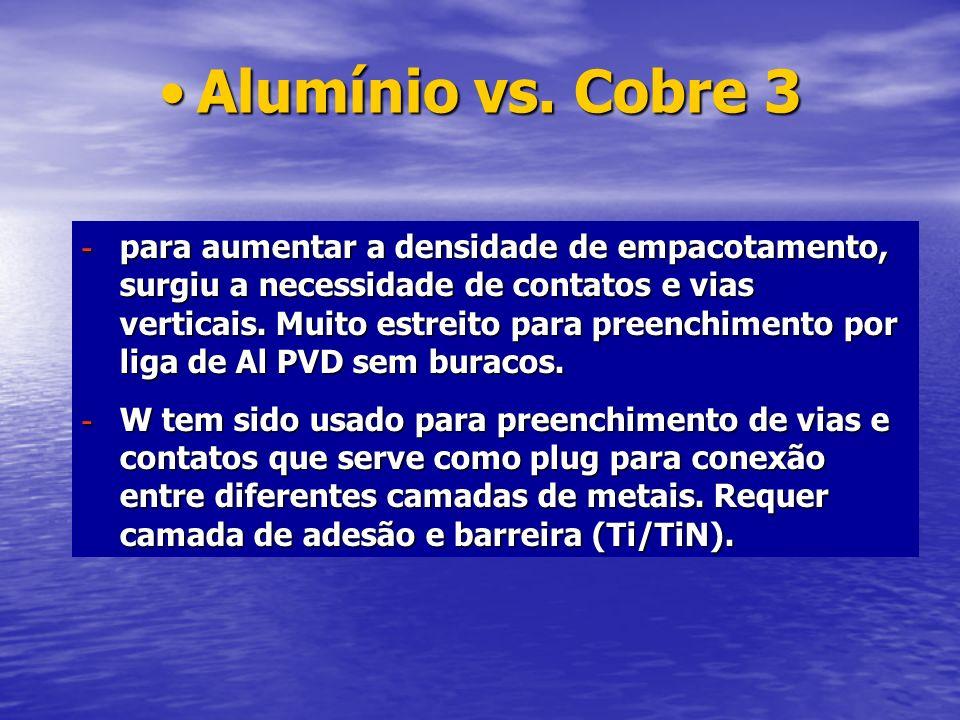Alumínio vs. Cobre 3Alumínio vs. Cobre 3 - para aumentar a densidade de empacotamento, surgiu a necessidade de contatos e vias verticais. Muito estrei