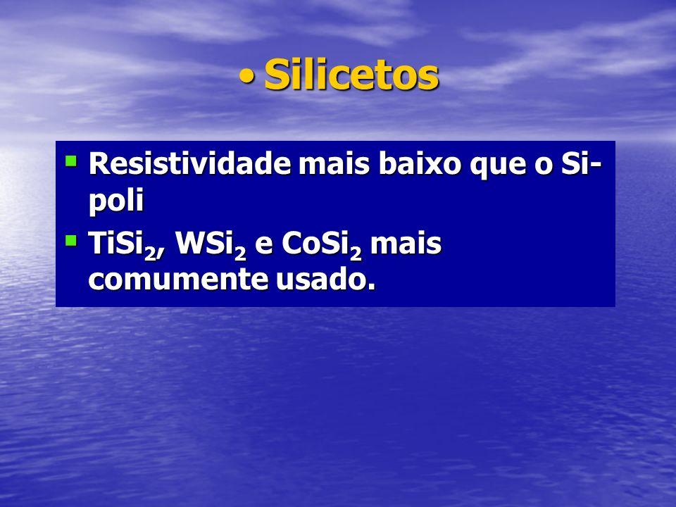 SilicetosSilicetos Resistividade mais baixo que o Si- poli Resistividade mais baixo que o Si- poli TiSi 2, WSi 2 e CoSi 2 mais comumente usado. TiSi 2
