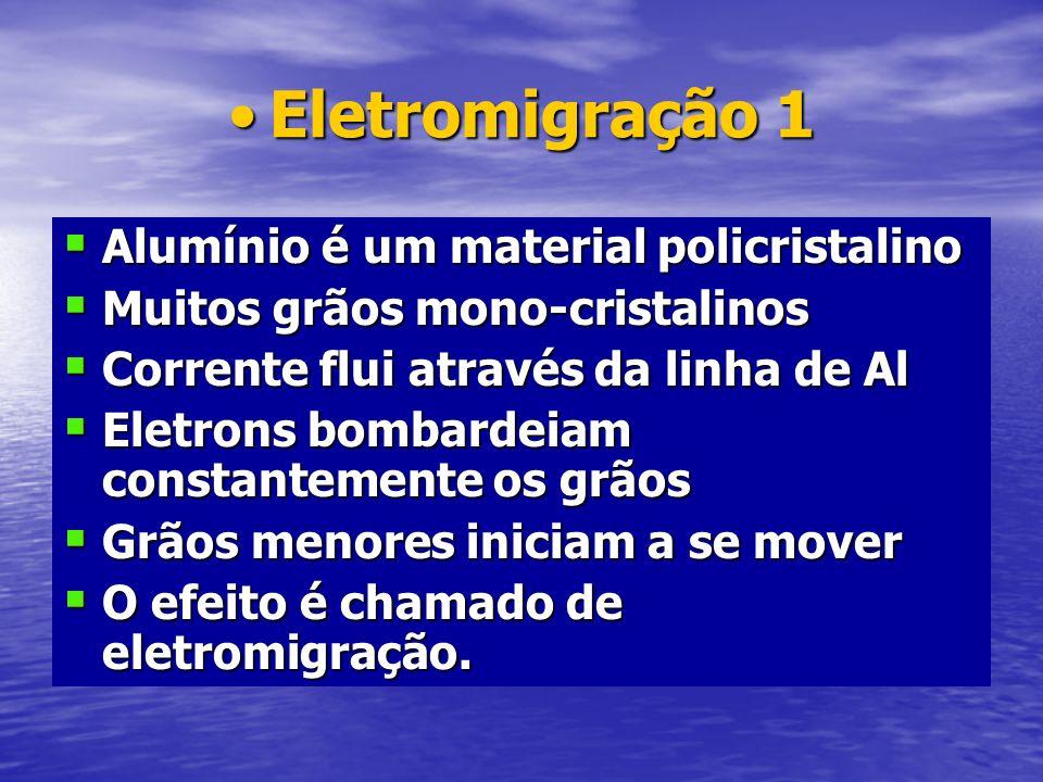 Eletromigração 1Eletromigração 1 Alumínio é um material policristalino Alumínio é um material policristalino Muitos grãos mono-cristalinos Muitos grão