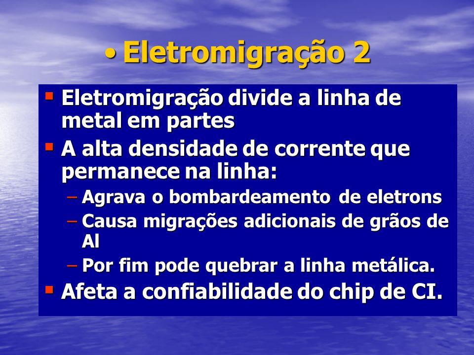 Eletromigração 2Eletromigração 2 Eletromigração divide a linha de metal em partes Eletromigração divide a linha de metal em partes A alta densidade de