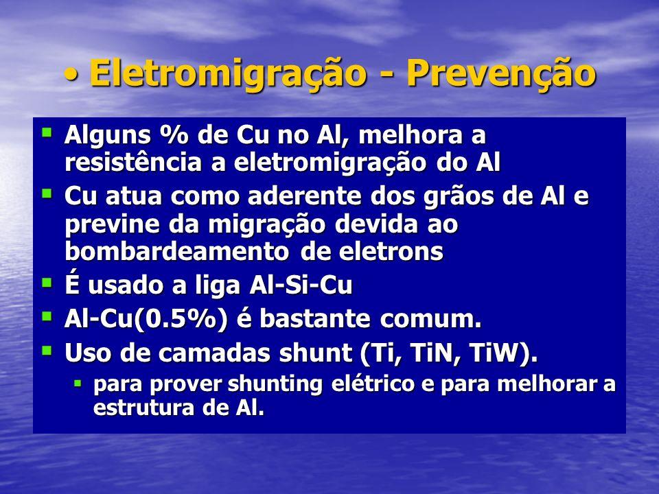 Eletromigração - PrevençãoEletromigração - Prevenção Alguns % de Cu no Al, melhora a resistência a eletromigração do Al Alguns % de Cu no Al, melhora