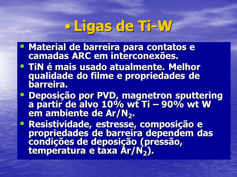 Ligas de Ti-WLigas de Ti-W Material de barreira para contatos e camadas ARC em interconexões. Material de barreira para contatos e camadas ARC em inte