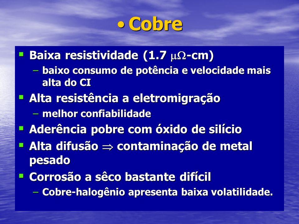 CobreCobre Baixa resistividade (1.7 -cm) Baixa resistividade (1.7 -cm) –baixo consumo de potência e velocidade mais alta do CI Alta resistência a elet