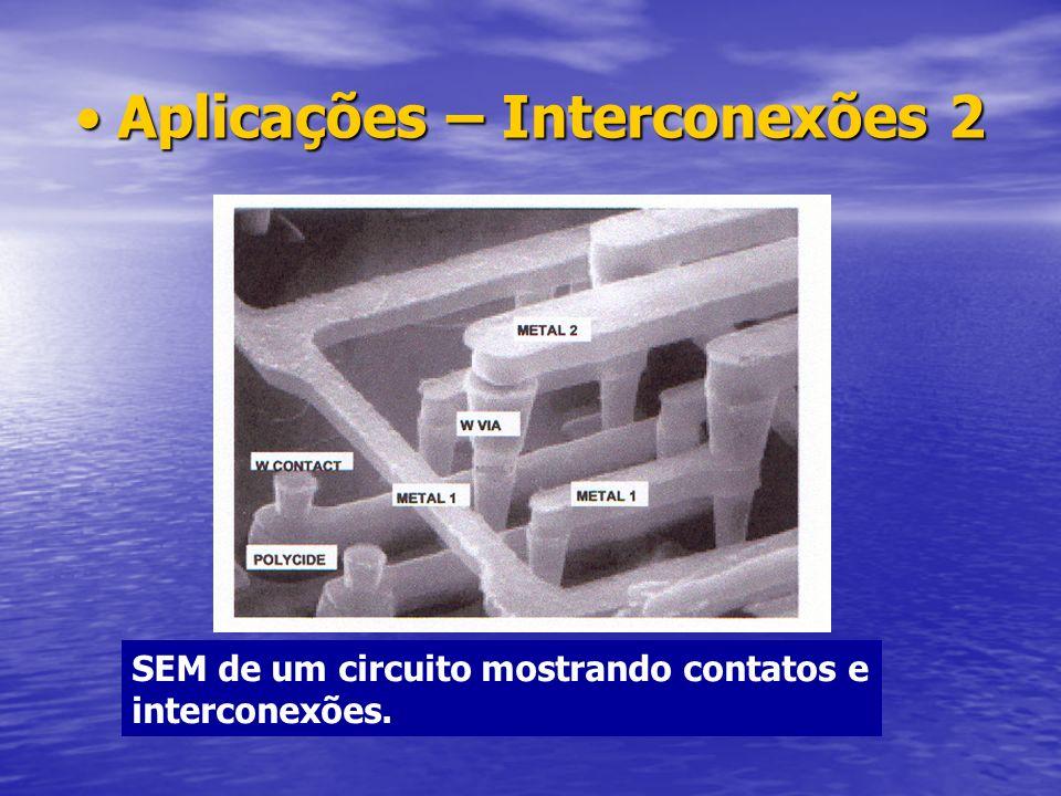 Aplicações – Interconexões 2Aplicações – Interconexões 2 SEM de um circuito mostrando contatos e interconexões.